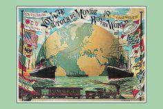 Vintage voyage around the world travel advertising