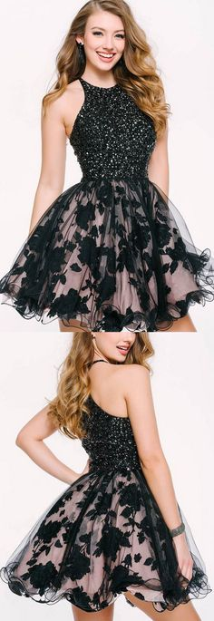 Black Party Dresses, Short Prom Dresses, Short Black Homecoming Dresses With Beaded/Beading Mini Round Sale Online Fancy Prom Dresses, Black Party Dresses, Cheap Evening Dresses, A Line Prom Dresses, Dresses For Teens, Cheap Dresses, Homecoming Dresses, Sexy Dresses, Short Dresses