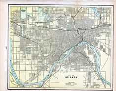 Antique 1901 Color Street Map of Fargo ND and St Paul MN from Crams Universal Atlas from VintagePaperWorks on Etsy.
