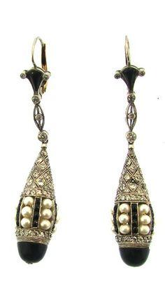Art Deco Onyx Pearl and Diamond Tear Drop Earrings