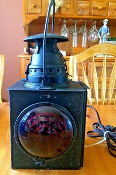 Dressel Tail Lamp Railroad Lantern No 15 Antique Red Lens Electrified Arlington