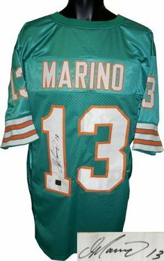 Dan Marino signed Miami Dolphins Teal Prostyle Jersey- Marino Hologram . $434.34. Dan Marino became one of the most prolific quarterbacks in league history, holding or having held almost every major NFL passing record. Despite never being on a Super Bowl-winning team, he is recognized as one of the greatest quarterbacks in American football history. Remembered particularly for having a quick release and a powerful arm, Marino led the Dolphins into the playoffs on numerous...