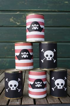 Part 1 of the preparations for our boys Pirate Party. Read how I made the invitation and a customised can toss game. Download the can toss stickers for free