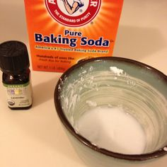Natural bug bite relief- baking soda, lavender essential oil and water. Mix into a paste and apply on bite.