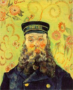 Vincent Van Gogh: Portrait of Joseph-Etienne Roulin. (Van Gogh painted 6 portraits of the Postman Joseph Roulin.) Oil on canvas. Arles: April, Merion Station, Pa: The Barnes Foundation. (Info from art Vincent Van Gogh, Art Van, Desenhos Van Gogh, Van Gogh Arte, Van Gogh Pinturas, Van Gogh Portraits, Portrait Art, Barnes Foundation, Van Gogh Paintings