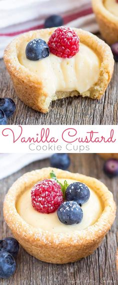 #Vanilla #Custard #Cookie #Cups! Bite-sized #sugar cookie cups filled with a #creamy vanilla custard and topped with fresh berries. | livforcake.com Dessert Cups, Cup Desserts, Vanilla Desserts, Bite Size Desserts, Vanilla Brownies, White Desserts, Bite Size Snacks, Vanilla Recipes, Bite Size Food