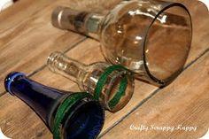 cut bottle with yarn