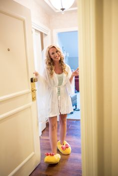 Danielle rocks her Minnie Mouse slippers while getting ready for her big day!