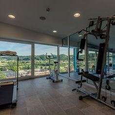 GYM with a view at VILLA MAGDALENA****  #leadingsparesorts #leadingspa #wellness #hotels #resorts #croatia #boutique #new #international #gym #fitness #view#villa Das Hotel, Hotel Spa, Wellness Spa Hotel, Villa, Boutique, Gym Fitness, Resort Spa, Windows, Table