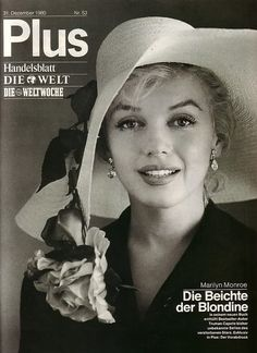 """Marilyn Monroe on the cover of """"Plus"""" magazine, December 31st 1980, Germany. Photo by Carl Perutz, 1958."""