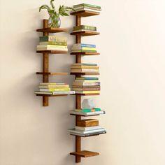 Recycled Golden Teak Column Wall Shelves