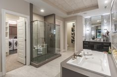 2016 Centerpiece Home built by Fischer Homes at the Indianapolis Home Show | Allerton Floorplan | Owner's Bath with separate shower and tub