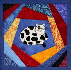 Crazy Cat Mini Quilt #2 by AllThatPatchwork, via Flickr