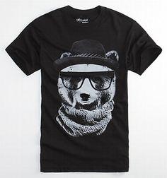Crooked Monkey Bear Fedora Tee: bears and sunglasses