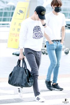150821: EXO Suho (Kim Joonmyun) and Kai (Kim Jongin); Incheon Airport to Xi'an Airport #exo #fashion #style #kfashion #kstyle #kpop