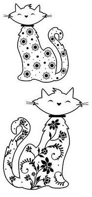 Gatos lindos para bordados em pedrarias | Desenhos e Riscos - Desenhos para colorir