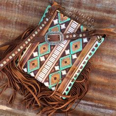 Turquoise & Cocoa Aztec Cross Body Handbag with Multicolor Dots and Fringe by Running Roan Tack