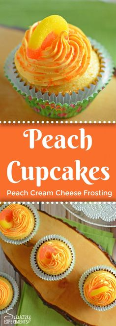 This Peach Cupcakes Recipe embodies all that is summer. Sweet and juicy peaches make these light cupcakes with peach cream cheese frosting just perfect! #peachcupcakes #peachrecipes #homemadecupcakes www.savoryexperiments.com