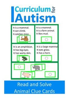 Autism Comprehension and Vocabulary activity - Animal themeThis is a set of 12 Clue Card boards- each with 4 different sets of 3 clues, which your student has to read and solve.For less confident readers an adult could read the clues aloud to the student, or you could take turns reading the clues.These Clue Cards were originally designed because my my son, who has autism, found it difficult to comprehend verbal descriptions.