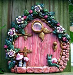 Pink Perfection Fairy Door Polymer Clay Pixie Portal - pinned by pin4etsy.com