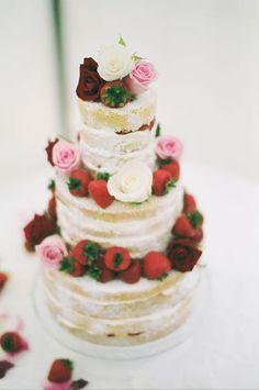 Gorgeous rustic strawberry & cream wedding cake!! just my type :)