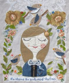 ♒ Enchanting Embroidery ♒ embroidered applique - Lisa Stubbs - Bird Charmer