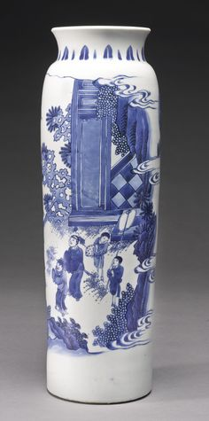 A fine blue and white sleeve vase, Ming dynasty, Chongzhen period