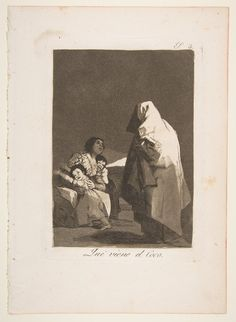 Plate 3 from 'Los Caprichos': Here comes the bogey-man (Que viene el Coco.) / Goya (Francisco de Goya y Lucientes) / Etching and burnished aquatint, 1799 / The Metropolitan Museum of Art