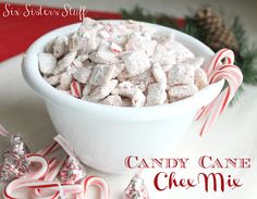 Candy Cane Muddy Buddies Chex Mix! A Holiday Treat everyone will enjoy! sixsistersstuff.com #christmas #candycane #recipe