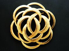 "Vintage Monet Infinity Interlocking Open Circle Swirl Brooch Gold Tone Signed 2"", Coat Pin, Sweater Pin, Statement Brooch by…"