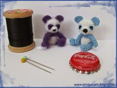 Make this tiny miniature purple panda using punch embroidery thread! A free tutorial and an original Amigurumi To Go design