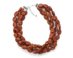 """18"""" Multistrand Red Oval Sponge Coral Bead Necklace"""