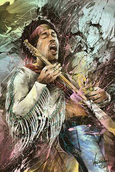 Awesome Art by JP Valderrama of Jimi Hendrix Jimi Hendrix, Rock Posters, Concert Posters, Rock And Roll, Arte Steampunk, Janis Joplin, Rock Legends, Blue Art, Woodstock