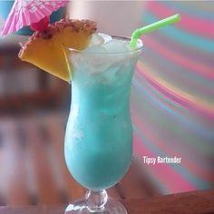 BLUE HAWAII  1 oz. (30ml) Light Rum  1 oz. (30ml) Creme de Coconut  2 oz (60ml) Fresh Pineapple Juice Shake Cherry and Pineapple Wedge Garnish