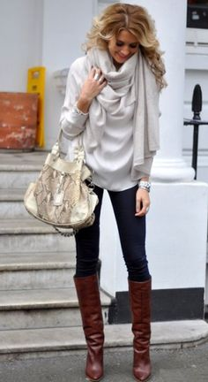 Winter fashion clothes with white sweater