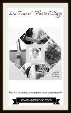 Are you a fan of Black and White photography? Here's another photo of George and Monika's fantastic wedding put in a fabulous B/W-inspired Digital Stained Glass page! #LeaFrance #Scrapbooking