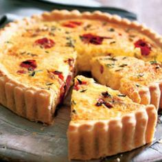 Kathy served quiche with Caesar salad, Pam brought chocolate cake and Moose Drool and Tami had strawberries with Hersheys sauce. Basic Quiche Recipe, Quiche Recipes, Soup Recipes, Quiches, Tomato Quiche, Roasted Cherry Tomatoes, Good Food, Yummy Food, Empanadas
