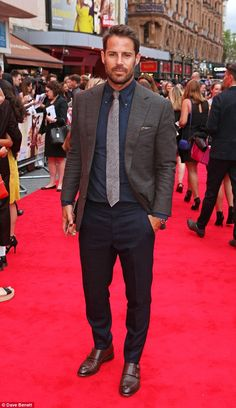 Dapper: Former footballer Jamie looked handsome as ever in a suit jacket and fitted navy s. Mens Casual Suits, Mens Suits, Jamie Redknapp, Louise Redknapp, Bad Education, Costume Sexy, Fru Fru, Evolution Of Fashion, How To Look Handsome