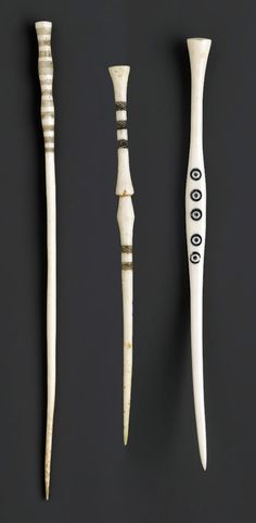 Congo | Three hairpins from the Mangbetu (or possibly Zande) people of the Ubangi or Uele region of Congo | Late 19th or early 20th century | Ivory with pigment