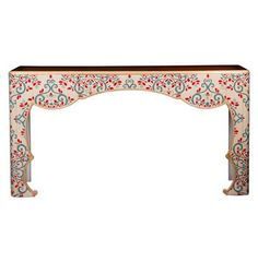 Jana French Global Bazaar Cherry Wood Painted Floral Console Table @KathyKuoHome