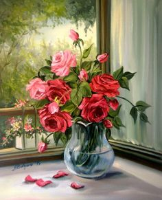 ROZE-IN-FEREASTRA-48X40 cm-prezentare Art Floral, Oil Painting Flowers, Watercolor Paintings, Oil Paintings, Beautiful Flower Arrangements, Beautiful Flowers, Beautiful Paintings Of Nature, Relaxing Art, Illustration Blume