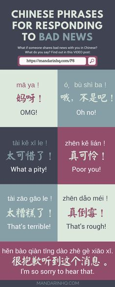 DOWNLOAD the audio & a pdf transcript for this video here: https://mandarinhq.com/2016/03/7-phrases-responding-bad-news-mandarin-chinese-2/ #chinesephrases #learnchinese #chinesevideolessons #mandarinhq #chineselanguage #hanyu #badnews