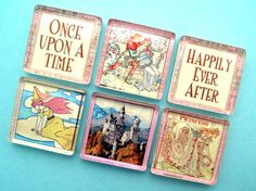 Magnets  Fairy Tales  1 Inch Square Glass by StuckTogetherMagnets, $10.50
