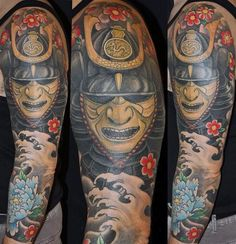 Colorful Samurai Mask And Wave Half Sleeve Tattoo For Men