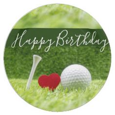 Happy Birthday To Golfer With Love And Golf Ball Paper Plate Invitation Retirement Party