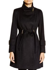 T Tahari India Funnel-Neck Coat | Bloomingdale's