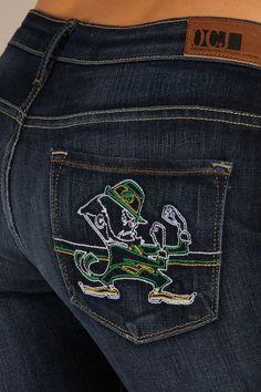 OCJ Apparel | Premium Collegiate Denim | NOTRE DAME Mascot Pocket Design in Deep Indigo