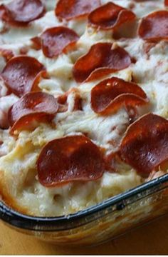 Pizza was on the menu until I came across this 3 Meat Pizza Casserole Recipe. I didn't feel like dealing with a crust, and this looked really good. And it made a hit!