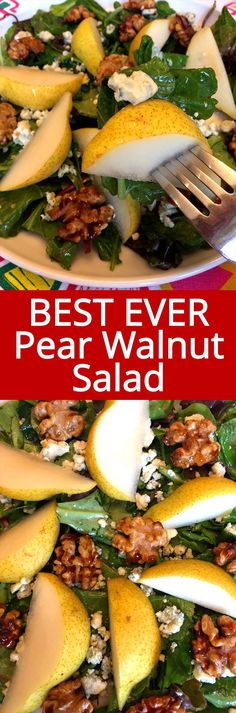 This pear walnut salad is amazing! Juicy pears, candied walnuts and blue cheese go so well together! So easy to make, everybody loves this salad! Side Dish Recipes, Lunch Recipes, Salad Recipes, Cooking Recipes, Healthy Salads, Healthy Eating, Healthy Recipes, Pear Walnut Salad, Pear Salad
