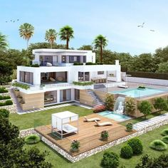 20 most popular modern dream house exterior design ideas 17 « Diy Best Garden Deko Dream Home Design, Modern House Design, Luxury Modern House, Sims 4 Modern House, Big Modern Houses, Luxury Villa, Casas The Sims 4, Design Exterior, Dream Mansion